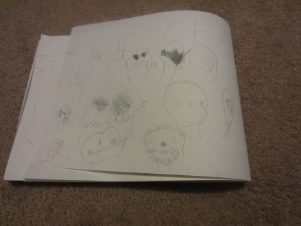 """R was the only one who mad a quest drawing this week. He calls this """"kinda like skulls?"""""""